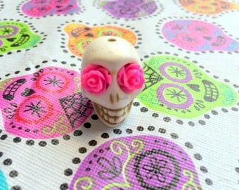 Sugar Skull Focal Bead Gigantic Ivory Howlite Skull Bead or Pendant with Pink Rose Eyes