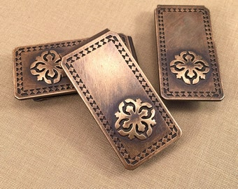 Groomsmen gift set - 3 money clips, vintage, fire polished, distressed