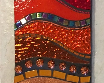 "6"" X 24"" Stained Glass Mosaic Wall Hanging Color progression mixed media Rainbow"