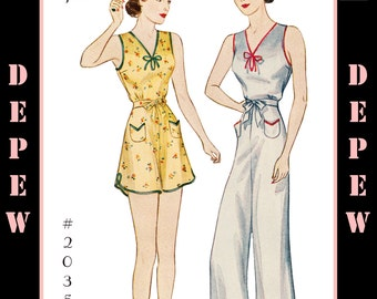 Vintage Sewing Pattern Multisize Reproduction 1930s Pajamas in 2 Lengths #2035 - INSTANT DOWNLOAD