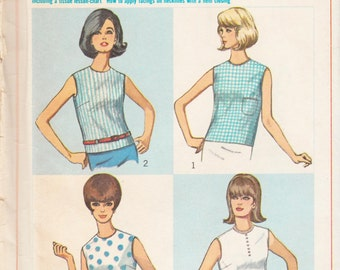 """Vintage Sewing Pattern 1960's Misses Blouses Simplicity 6316 34"""" Bust- Free Pattern Grading E-book Included"""
