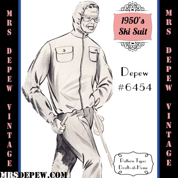 Men's Vintage Reproduction Sewing Patterns 1950s Mens Ski Jacket and Pants in Any Size Depew 6454 - Plus Size Included -INSTANT DOWNLOAD-  AT vintagedancer.com