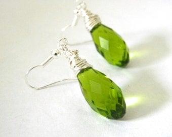 Peridot Green Glass Wire Wrapped Drop Earrings