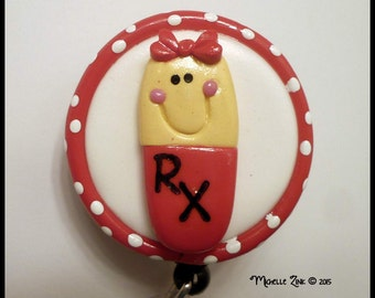 Retractable Badge Reel ID Holder Polymer Clay RX Pill Capsule Red Yellow