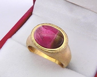 AAAA Watermelon Tourmaline Cabochon Top Color   11x9mm  3.42 Carats   in Ladies 18K Yellow gold cocktail ring 10 grams. 2613