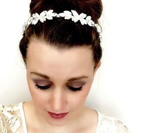 Rhinestone headband, Wedding Hair piece, Cubic Zirconia Rhinestone tiara, wedding head piece, rhinestone wreath