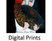 Little Girl & Her Chicken Painting Print. Barnyard Animals Digital Print. Kitchen Wall Art Prints. Miz Katie Art