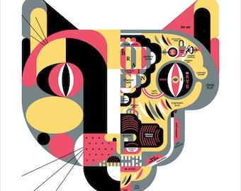 "Feline Anatomy Cat Biology Chart 17"" Square Art Print by Raymond Biesinger"