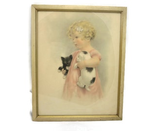 Bessie Pease Gutmann Girl with Kitten and Puppy Framed Print - Vintage, Pink Black White Cream