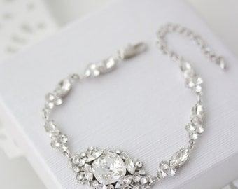 Crystal Bridal Bracelet Wedding Jewelry Swarovski Crystal Bracelet Delicate Wedding Jewelry ESTELLA Deluxe Bracelet
