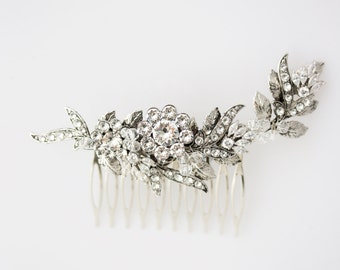 Wedding Hair Comb Crystal Headpiece Antique Silver Bridal Comb Decorative Hair Comb Wedding Hair Accessories  MINI MARYSE