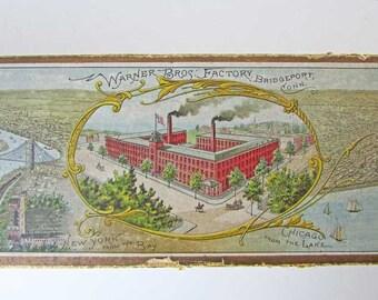 Antique Victorian 1889 Advertising Box, Dr Warner Coraline Long Waist Corset, Factory Scene, NY Harbor, Chicago Harbor, Bridgeport, CT