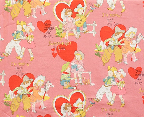 Valentine children retro pink alexander henry fabric 1 for Retro childrens fabric