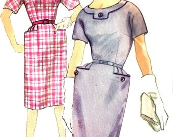 Wiggle Dress Pattern 1960s Simplicity Half Size Vintage Sewing Women's Misses Size 14. 5 Bust 35 Inches
