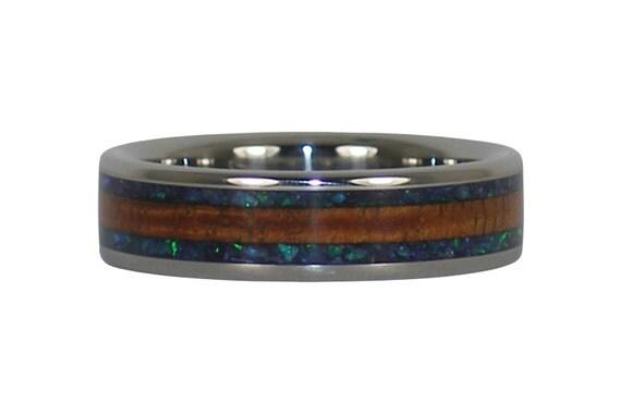 Opal and Curly Koa Wood Titanium Ring