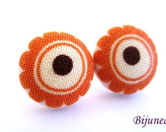 Flower earrings - Orange flower earrings - Flower stud earrings - Flower studs - Flower post earrings - Flower posts sf1156