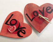 Heart clock:  handmade red heart Sweet Heart whimsical Pottery wall hanging HM designer