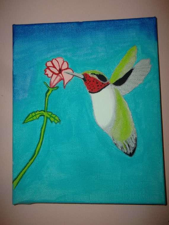 Ruby-Throated Humming Bird Painting Acrylic Art Wrapped Canvas Home Decor Nature Signed Dated Original Gift for Him or Her Hostess Housewarm
