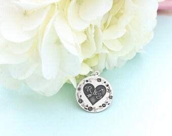 Personalized Bouquet Charm - Arrow Wedding Charm -  Wedding Bouquet Charm Floral - Silver Personalized Necklace - Rustic Wedding