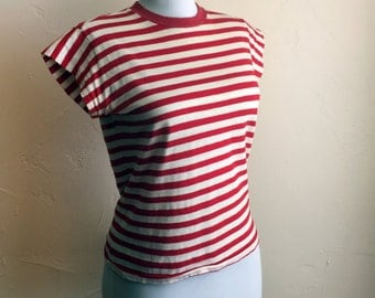 1950s JD stripey tshirt tee shirt - striped red and white