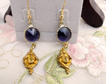 Gold and Purple Swarovski Cabochon Art Nouveau Lady Earrings