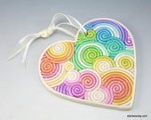 Heart Ornament in Pastel Rainbow Fimo Filigree Valentine's Day Gift