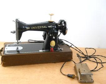 Vintage Universal Sewing Machine • Universal De Luxe Japan Portable Sewing Machine • Vintage Electric Sewing Machine