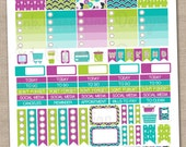 Instant Download Planner Stickers Printable PDF in Purple Green & Blue Headers Half Boxes Ombre Boxes Appointment Boxes