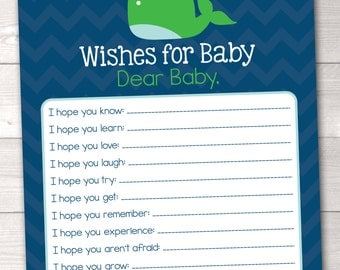 Printable Baby Wishes Card Green Whale and Chevron Stripes INSTANT DOWNLOAD PDF