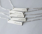 Dainty Silver Bar Necklace, Personalized Necklace, Initial Necklace Personalized Jewelry Bar Necklace, Silver Necklace