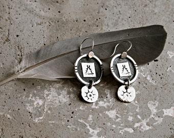 Rustic Relic Coin Style Stamped Sterling Silver Dangles Earrings . Tribal Wabi Sabi Southwestern Boho Jewelry