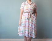 plus size dress / primary colors grid pattern / shirt dress 1980s / XL