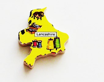 1960s Lancashire England Brooch - Pin / Unique Wearable History Gift Idea / Upcycled Vintage Wood Jewelry / Timeless Gift Under 25