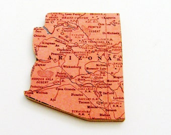 1940s Arizona Brooch - Pin / Unique Wearable History Gift Idea / Upcycled Vintage Wood Jewelry / Timeless Gift Under 25