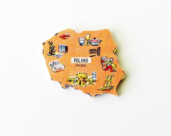 1960s Polska - Poland Brooch - Pin / Unique Wearable History Gift Idea / Upcycled Vintage Hand Cut Wood Jewelry / Timeless Gift Under 50
