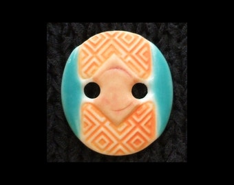 Handmade Ceramic Button: Very Lightweight Translucent Porcelain Turquoise and Apricot