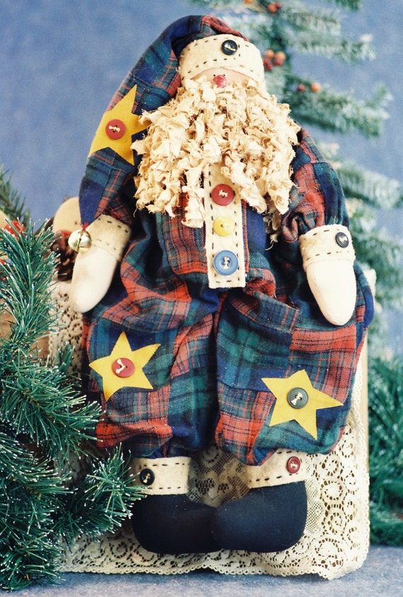 Mailed Cloth Doll Pattern - 19in Folk Art Christmas Santa