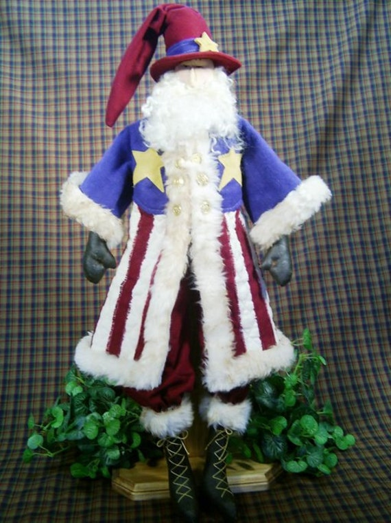 Mailed Cloth Doll Pattern 25in Patriotic July 4th Santa