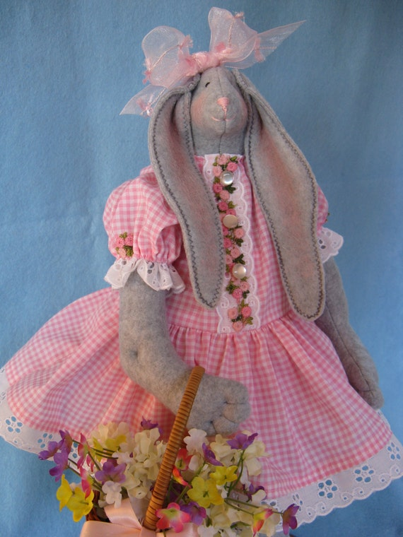 Mailed Cloth Doll Pattern 19inch Springtime Girl Bunny