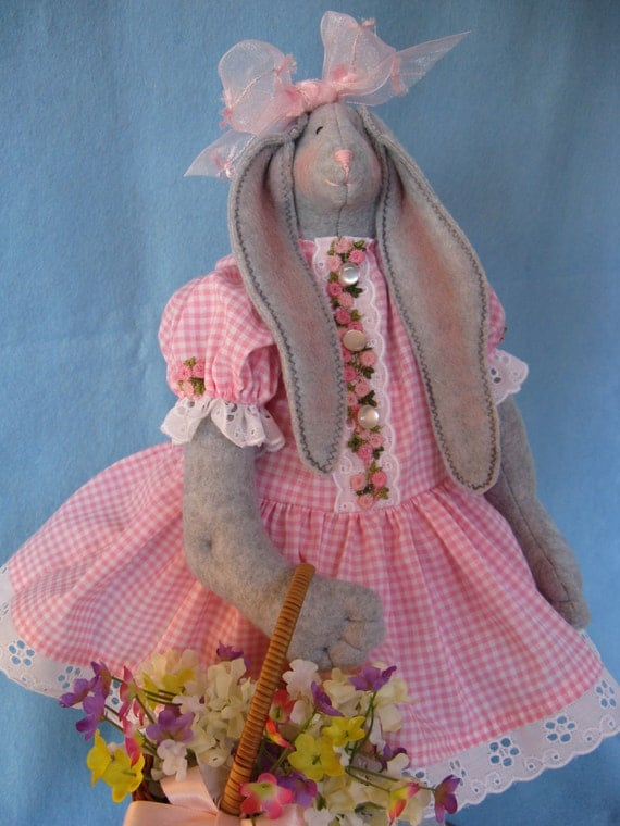 Mailed Cloth Doll Pattern 19inch Springtime Girl Bunny Rabbit