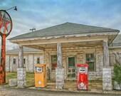 Old Texaco Filling Station Fine Art Photogaph, Abandoned Gas Station Photo, Vintage Texaco Sign, Gas Pumps, Abandoned America Fine Art