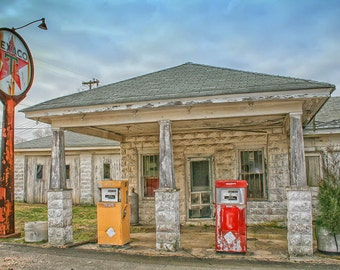 Old Texaco Filling Station Fine Art Photogaph, Abandoned Gas Station Photo, Vintage Texaco Sign, Gas Pumps, Abandoned America Fine Art