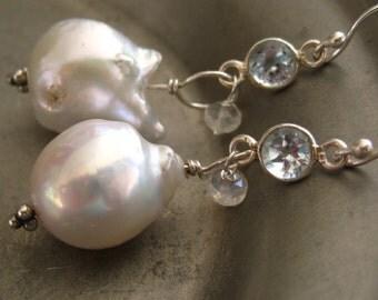 Baroque Pearl Earrings - Wedding Jewelry - Something Blue