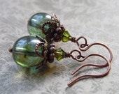Antique Style Drop Earrings with Green Czech Glass, Crystal, and Antique Copper