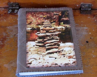 zen journal - nature travel journal -waxed canvas journal, diy network and hgtv product feature