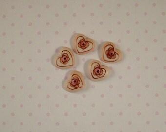 Pink Heart Button set of 5