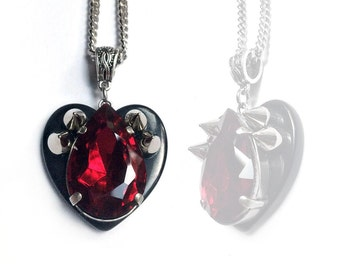 Teardrop Spiked Heart Necklace // Spike Jewelry // Black Heart Necklace // Gothic Necklace // Gothic Jewelry // Punk Necklace // Vampire
