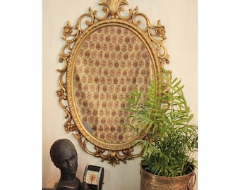 large wall mirror - gold oval framed mirror - ornate mid century mirror - Hollywood Regency style mirror