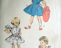 Vintage 40's Advance 4249 Sewing Pattern, Girls Toddlers Play Dress and Panties, Size 2, 21 Breast