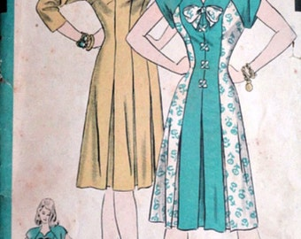 Vintage 40's Hollywood 1750 Sewing Pattern, Misses' One-Piece Dress, WW2 Era, Size 12, 30 Bust